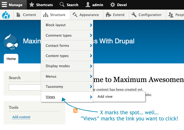 Image showing where to click in Drupal to get to the Views section