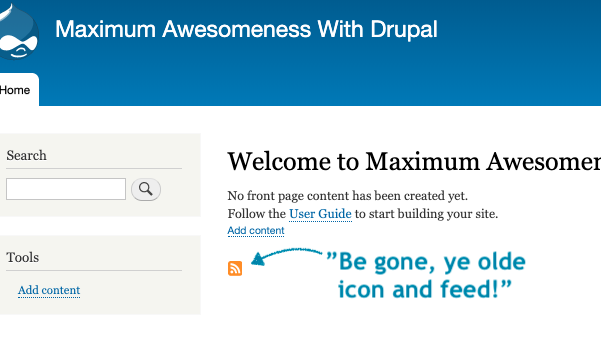 The frontpage of Drupal where we automatically is served an RSS icon with a link to the feed.