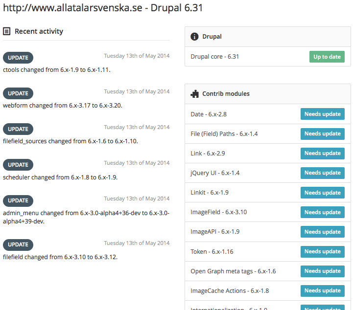 Screenshot of Drupalstatus.org