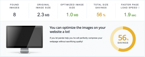 Statistics over how much your website can benefit from using an image compression service, in this case TinyPNG