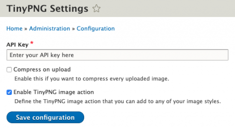Screenshot from the settings page of TinyPNG inside Drupal